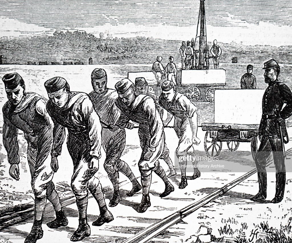 Illustration depicting convicts working on Chatham Basin, hauling stone. Dated 19th century.