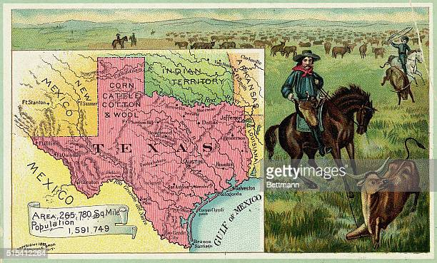 Illustration depicting cowboys herding cattle with inset map of Texas Undated color lithograph