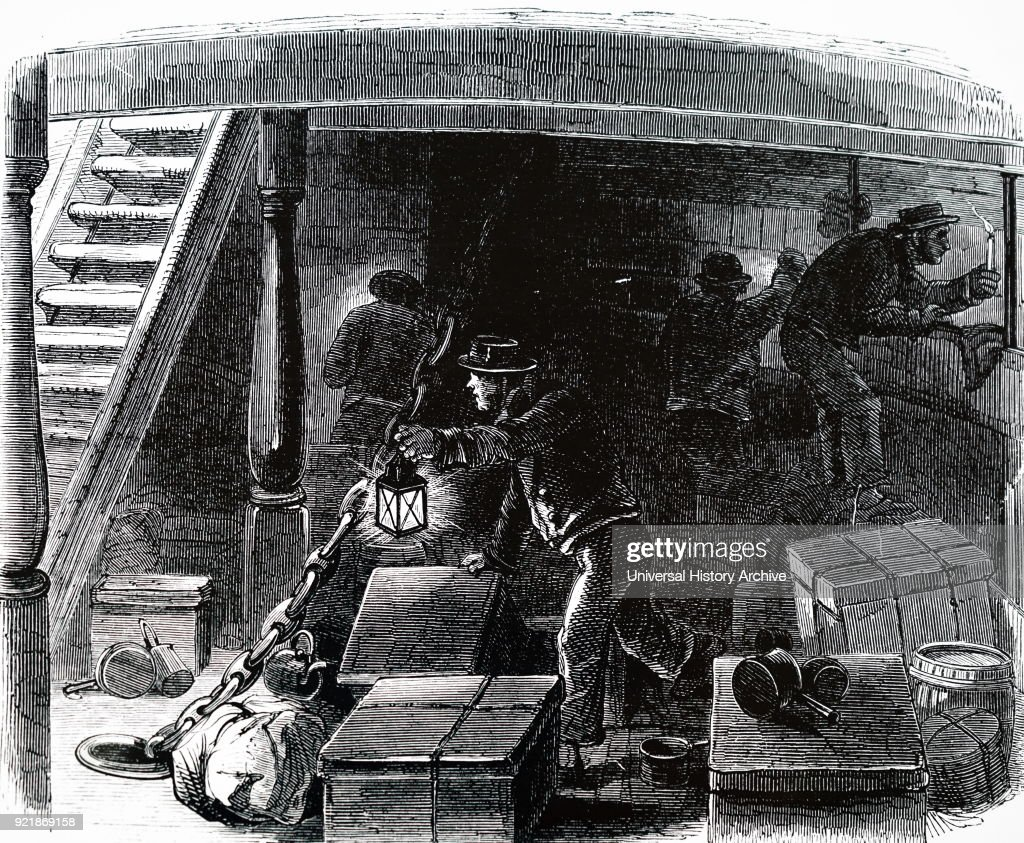 Illustration depicting crew conducting a search for stowaways on an emigrant ship travelling from Liverpool to America. Dated 19th century.