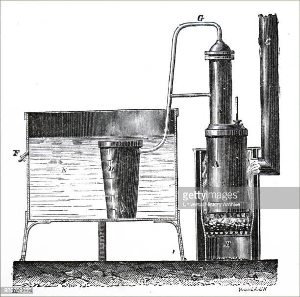 Illustration depicting Edmond Carre's refrigerating apparatus for chilling carafes Dated 19th century