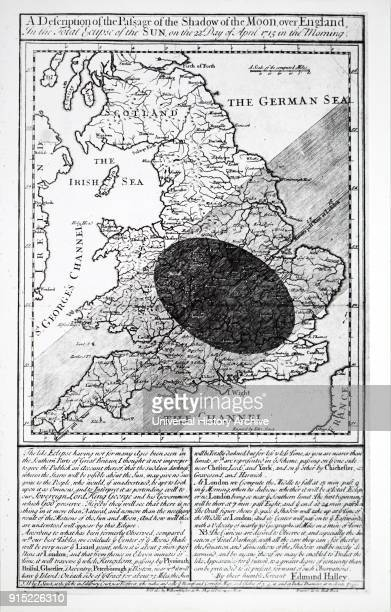 Illustration depicting Edmond Halley's Solar Eclipse chart showing the path of the moon's shadow during the eclipse of 1715 Dated 18th century