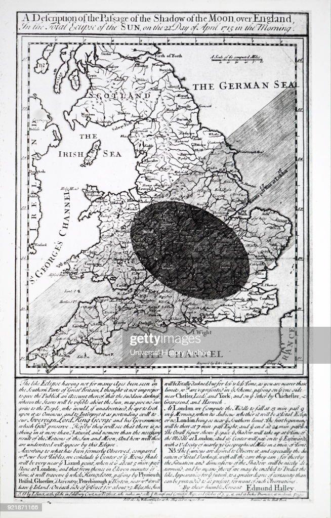 Edmond Halley's solar eclipse chart. : News Photo