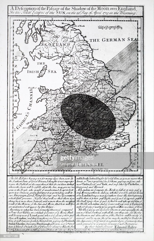 Illustration depicting Edmond Halley's (1656-1742) Solar Eclipse chart, showing the path of the moon's shadow during the eclipse of 1715. Dated 18th century.