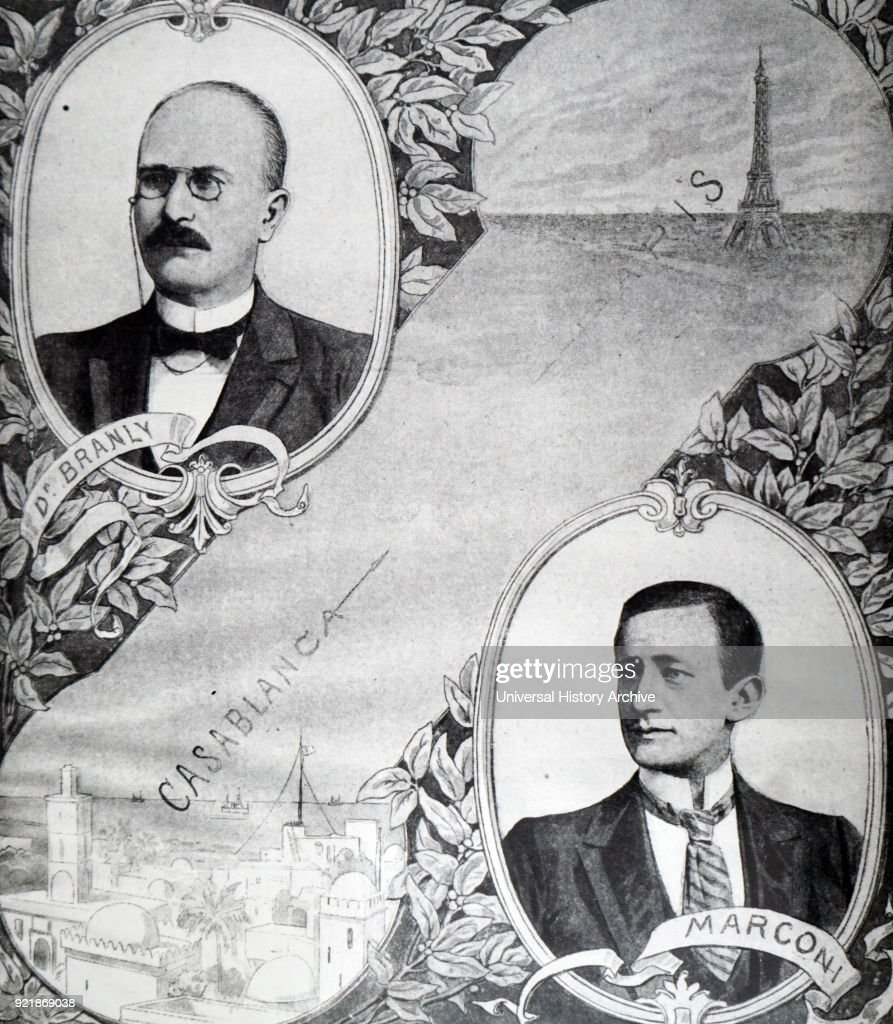 Illustration depicting Edouard Branly (1844-1940) and Guglielmo Marconi (1874-1937) the two men responsible for the wireless telegraph link between Paris and Casablanca. Dated 20th century.