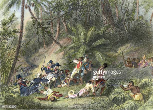 Illustration depicting Francois Dominique Toussaint L'Ouverture participating in the successful revolt against French power in St. Dominique ....
