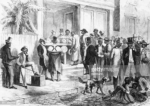 Illustration depicting freedmen voting in New Orleans, after being herded to the polls by carpetbaggers. Woodcut, dated 1867, from a series of...