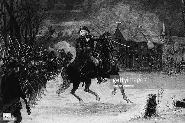 Illustration depicting General George Washington leading Colonial troops at the Battle of Trenton New Jersey during the American Revolutionary War...