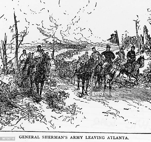 Illustration depicting 'General Sherman's Army leaving Atlanta' The Atlanta Campaign by General William T Sherman concluded successfully on 2...