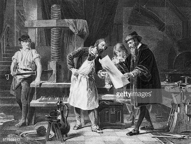 Illustration depicting Gutenberg taking the first proof off his printing press Undated engraving BPA2# 3883