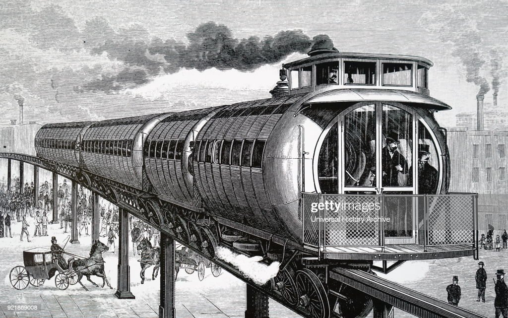Illustration depicting Henry Meiggs' elevated monorail system, Boston. Henry Meiggs (1811-1877) a promoter/entrepreneur and railroad builder. Dated 19th century.