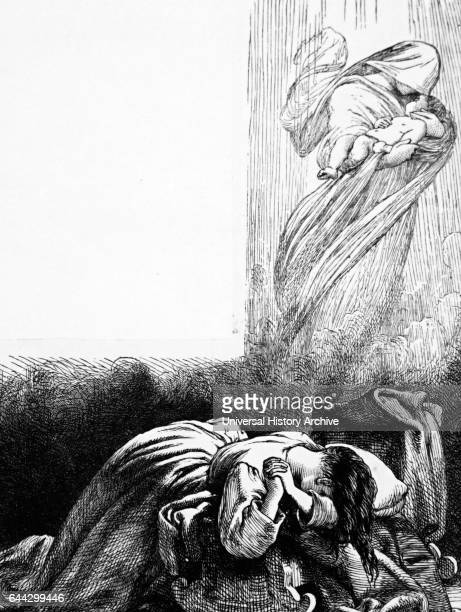 mother weeping for the loss of her baby who is being carried away by the Angel of Death Dated 19th Century