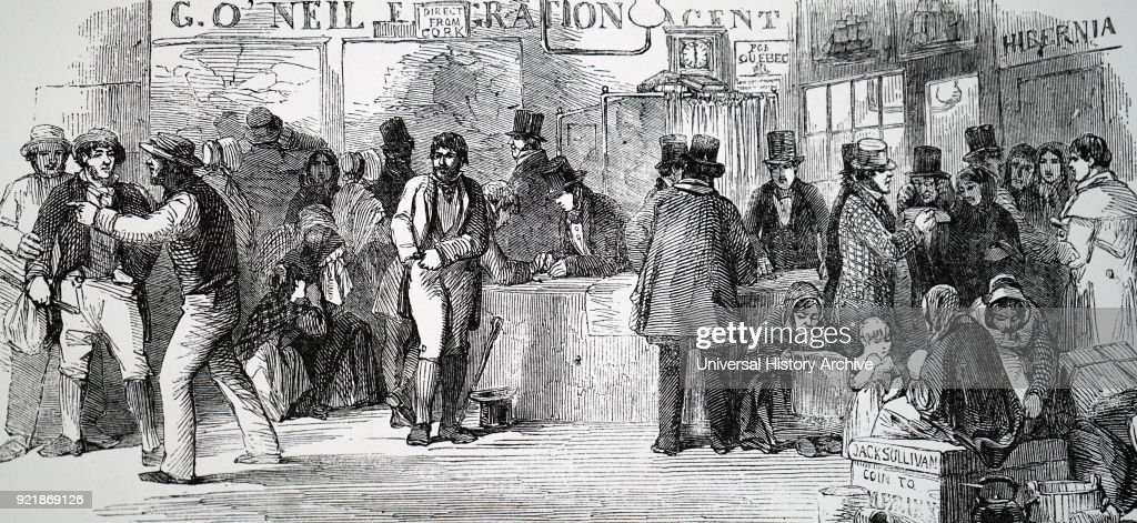 Illustration depicting Irish emigrants paying their passage money at the emigration agent's office at Cork. Dated 19th century.