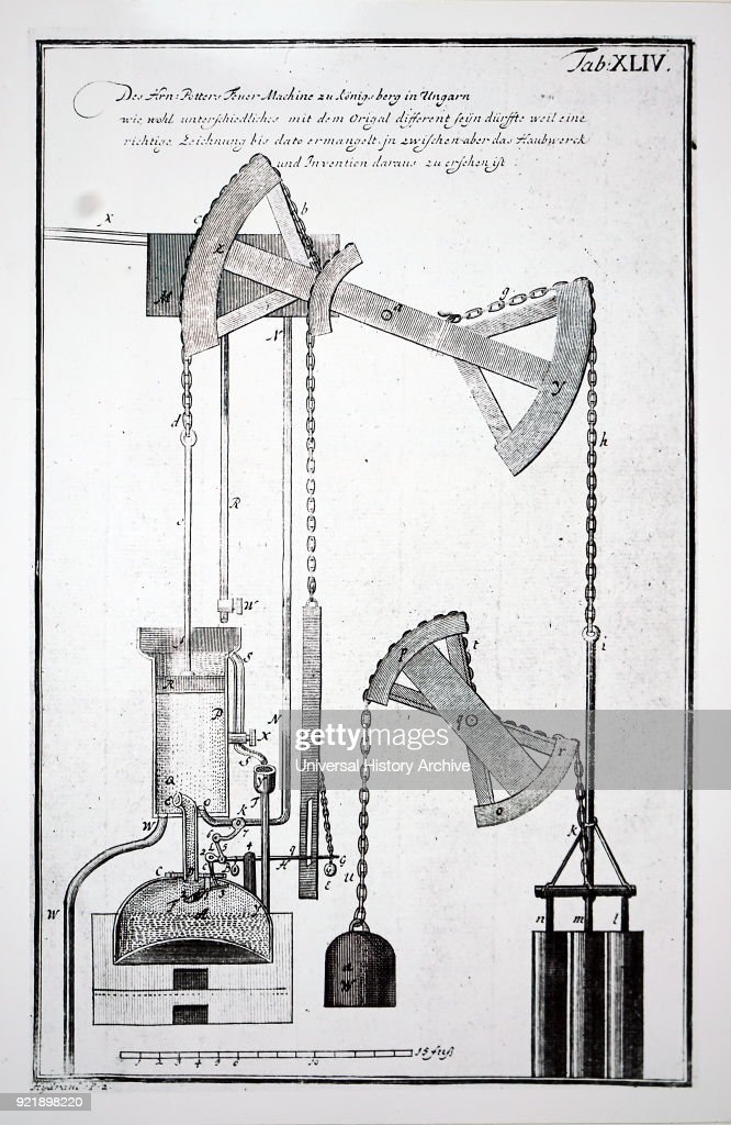 Illustration depicting Isaac Potter's steam engine. Isaac Potter (1690-1735) a British engineer. Dated 18th century.