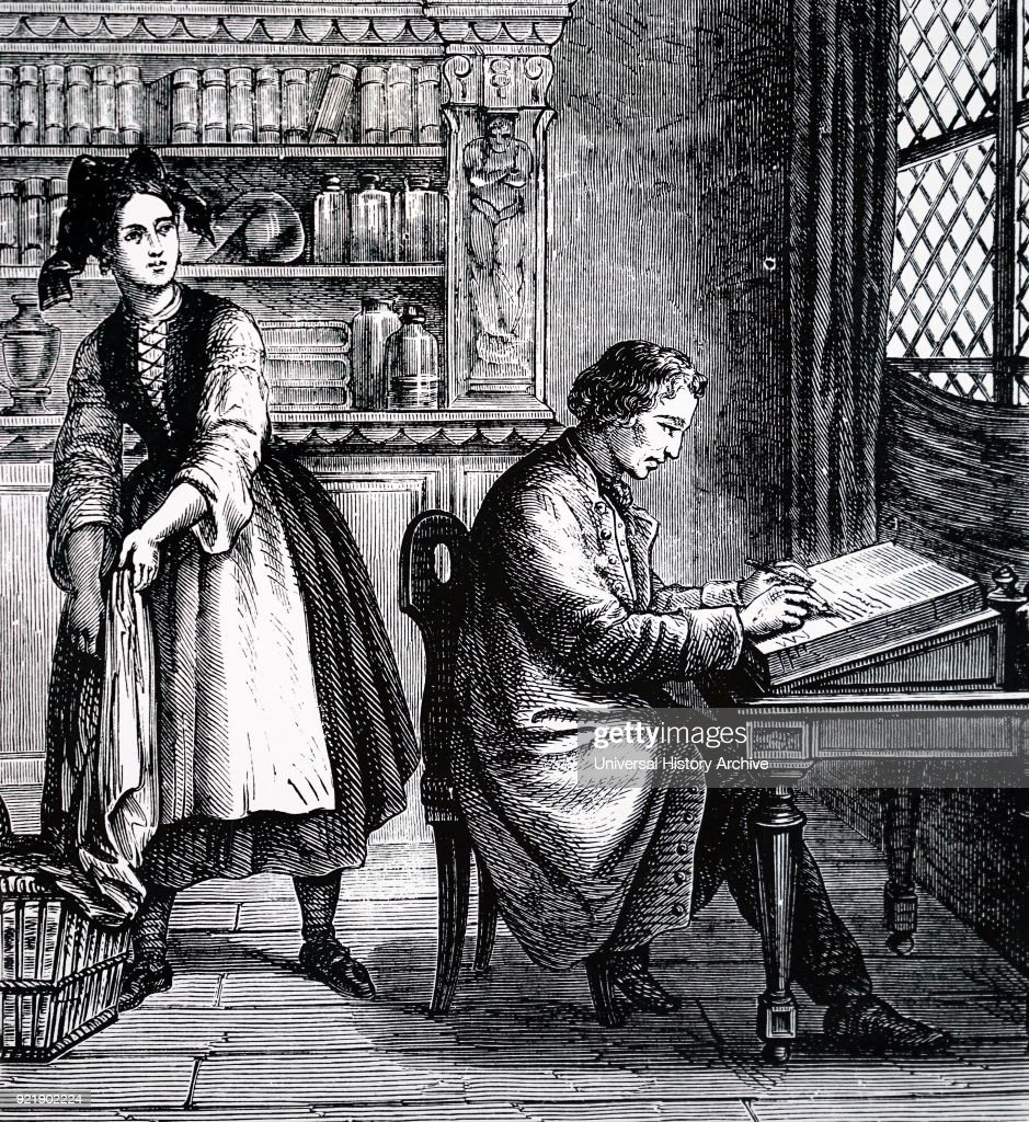 Illustration depicting Johann Alois Senefelder discovering the process of lithography by chance. Johann Alois Senefelder (1771-1834) a German actor and playwright who invented the printing technique of lithography. Dated 19th century.
