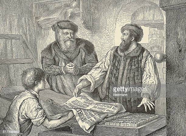 Illustration depicting Johann Gutenberg showing the first proofs done with his movable type Engraving after A Menzel 1450
