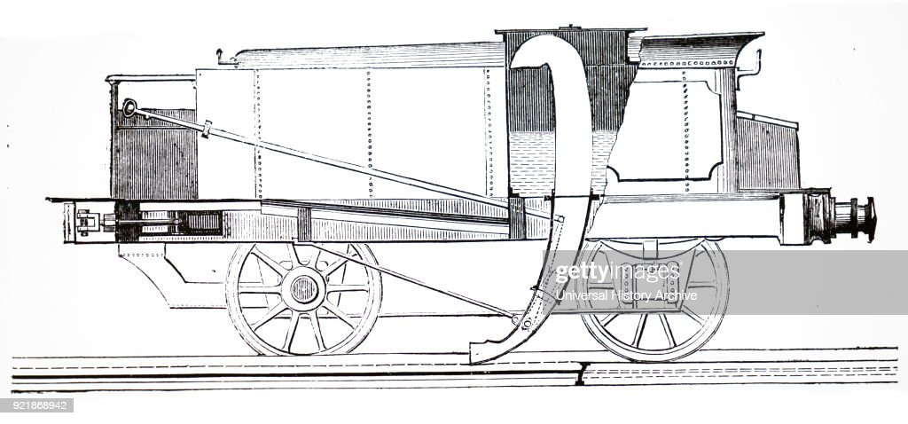 Illustration depicting John Ramsbottom's apparatus enabling a locomotive tender to be recharged with water while the train was still in motion. The scoop picked up water from a trough between the rails. John Ramsbottom (1814-1897) an English mechanical engineer. Dated 19th century.