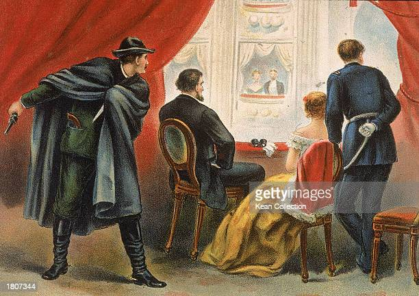 Illustration depicting John Wilkes Booth preparing to assassinate president Abraham Lincoln in the balcony of Ford's Theatre Washington DC April 14...