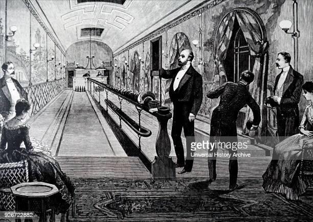 Illustration depicting King Edward VII bowling at Sandringham House. Dated 19th century.