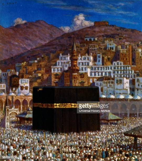 Illustration depicting Moslem pilgrims at the Kabbah in Mecca. By Nasreddine Dinet . 1861 Ð 1929. A French orientalist painter. 1918. Mecca is the...