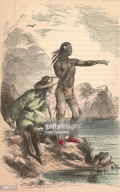 Illustration depicting Native American Indian Squanto from the Pawtuxet tribe pointing on a coastal rock while serving as guide an interpreter for...