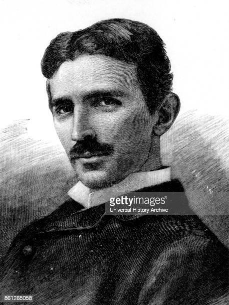Illustration depicting Nikola Tesla a Serbian-American inventor, electrical engineer, mechanical engineer, physicist, and futurist aged 34, circa...