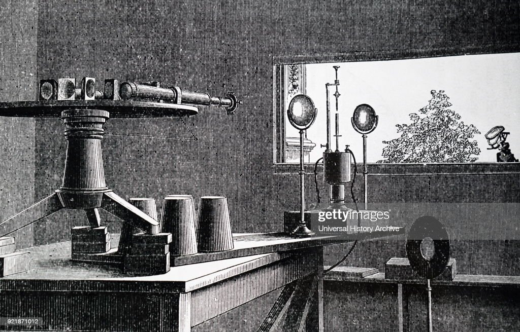 Illustration depicting Norman Lockyer's solar spectrograph. Solar spectrum passes through multiple-prism spectroscope fitted to a refracting telescope. Dated 19th century.