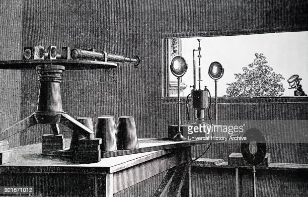Illustration depicting Norman Lockyer's solar spectrograph Solar spectrum passes through multipleprism spectroscope fitted to a refracting telescope...