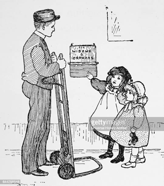 Illustration depicting orphans asking for donations for 'widows and orphans' Dated 20th Century