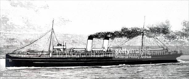 Illustration depicting packet boat 'Queen' fitted with