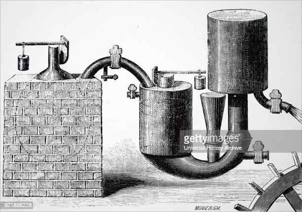 Illustration depicting Papin's steam engine for pumping water from mines It was the first engine to use the safety valve he had invented twentyseven...