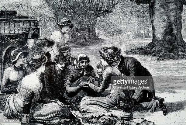 Illustration depicting picnickers having their palms by an old gypsy woman at Burnham Beeches Dated 19th century