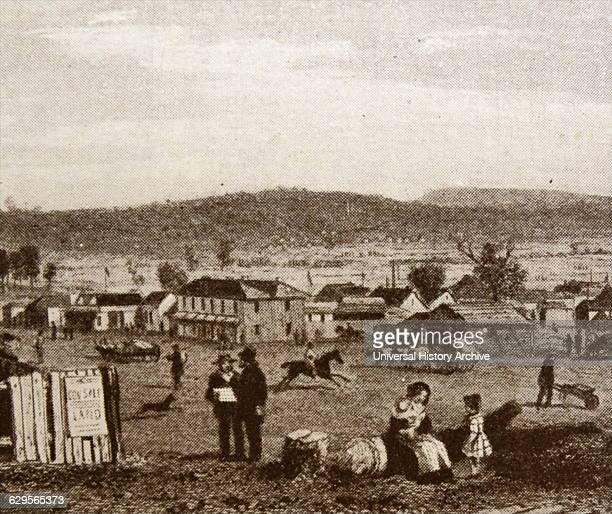 Illustration depicting pioneer settlement at Sandhurst, Bendigo, Australia. Immigrant families in the 1830s