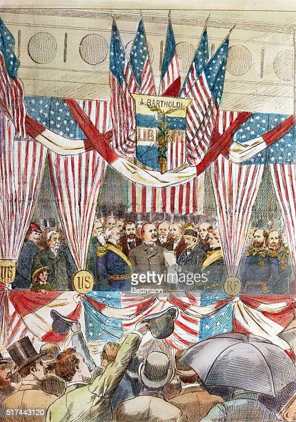 Illustration depicting President Grover Cleveland dedicating France's gift the Statue of Liberty in October 1886 A crowd cheers at the patriotic...