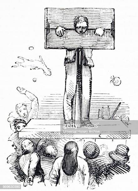 Illustration depicting punishment by the stocks Dated 16th Century