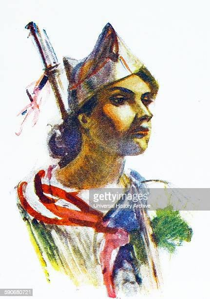 Illustration depicting Republican militia woman in Madrid 1937 By Carlos Saenz de Tejada Spanish painter and illustrator identified with the...