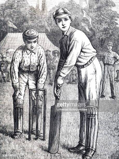 Illustration depicting schoolboys playing cricket at Harrow School Dated 19th century