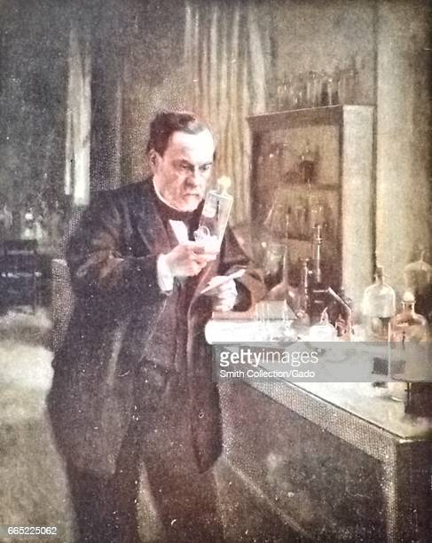 Illustration depicting scientist Louis Pasteur at work in his laboratory staring at a beaker with a look of intense concentration while holding a...
