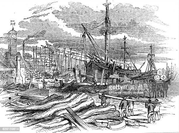 Illustration depicting Ships on the stocks at Green Wigrams Greens shipyard Blackwall Dated 19th Century