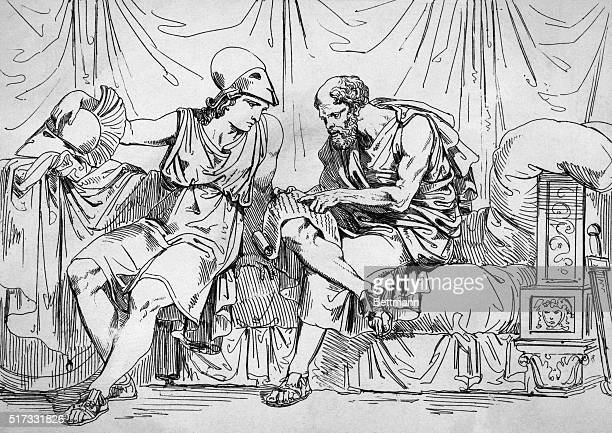 Illustration depicting Socrates as teacher of Aecibiades Engraving circa 1821