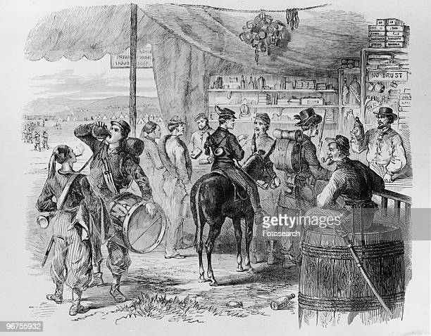 Illustration depicting soldiers in camp visiting the Sutler's Store during the American Civil War The sutler was a civilian storekeeper who was...