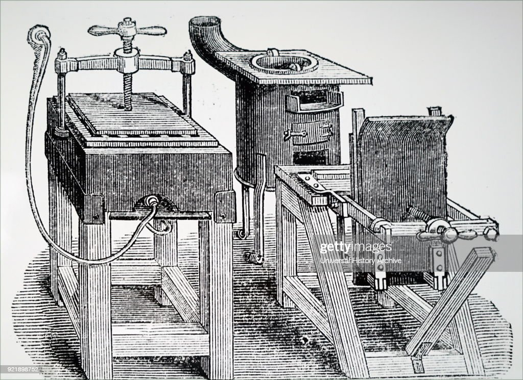 Illustration depicting stereotyping apparatus using gas heaters and paper Mache. Work could be more rapidly produced at less cost than previously. Dated 19th century.