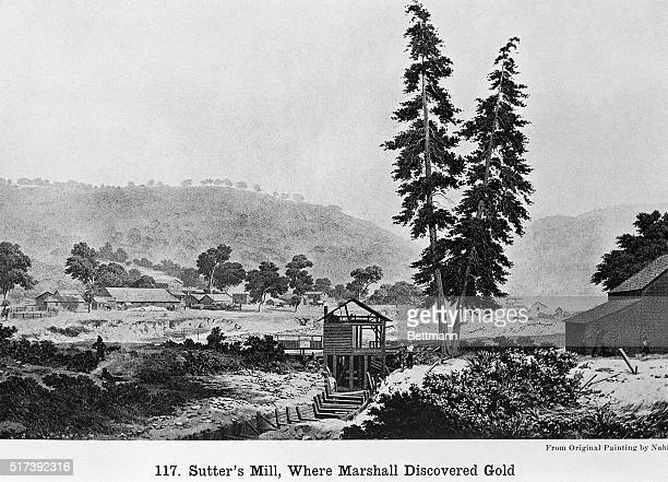 Illustration depicting Sutter's Mill where New Jersey prospector James Marshall discovered gold in 1848 sparking the California Gold Rush Painting by...