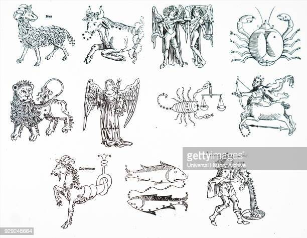 Illustration depicting the 12 Zodiac signs Dated 15th Century