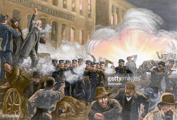 Illustration depicting the Anarchist Riot on May 4th 1886 in Chicago Shows a bomb exploding among the police Colored wood engraving by T de Thulstrup...