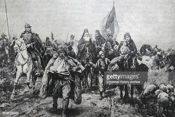 Illustration depicting the Battle of Kosovo a battle between the army led by the Serbian Prince Lazar Hrebeljanovic and the invading army of the...