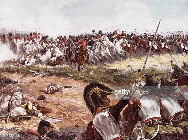 Illustration depicting the Battle of Waterloo June 18 1815 From the painting by H Chartier