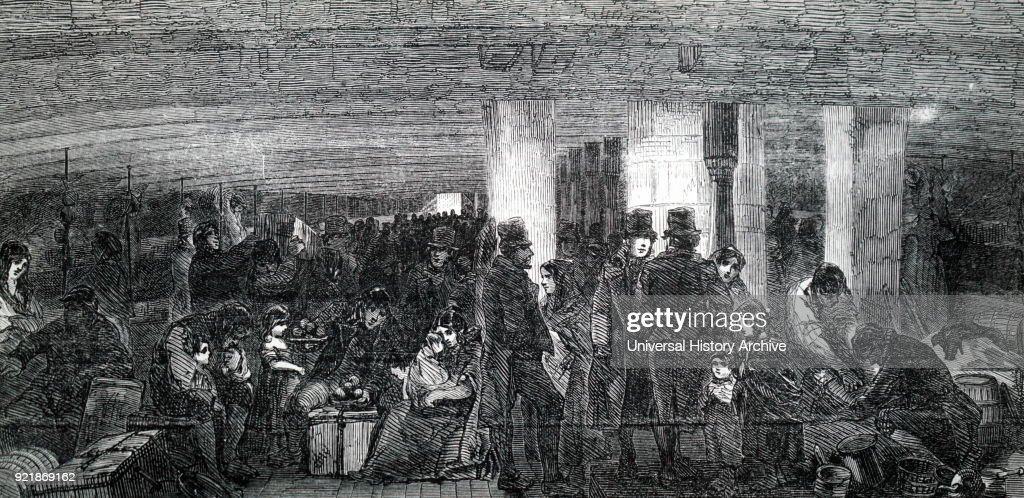 Illustration depicting the between decks on an emigrant ship travelling from Liverpool to America. Dated 19th century.