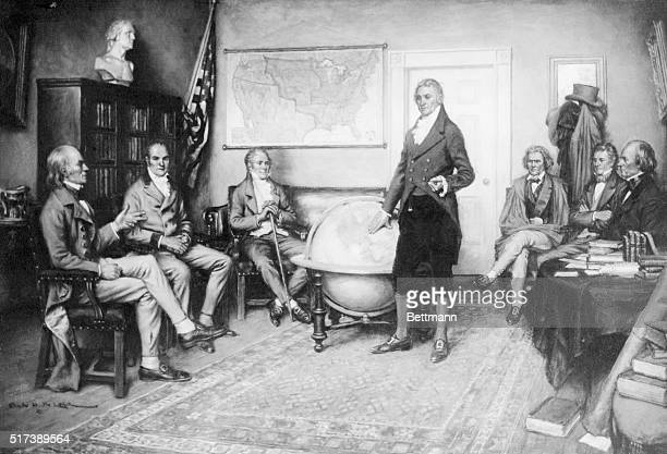 Illustration depicting the birth of the Monroe Doctrine James Monroe is shown standing beside a globe John Quincy Adams is seated at left From a...
