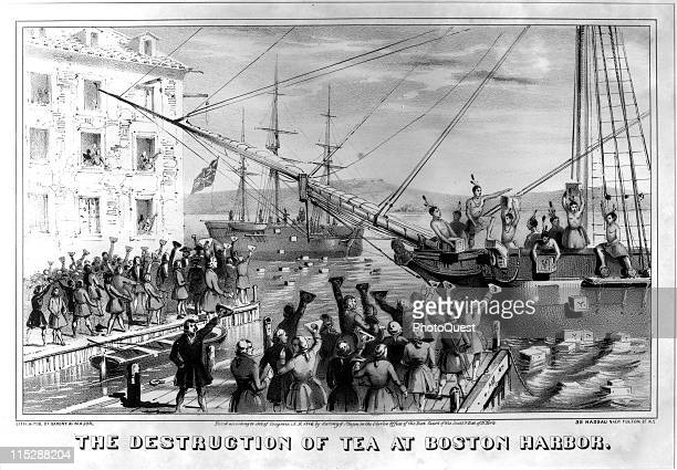 Illustration depicting the Boston Tea Party wherein Destruction of Tea at Boston Harbor Sarony Lithograph