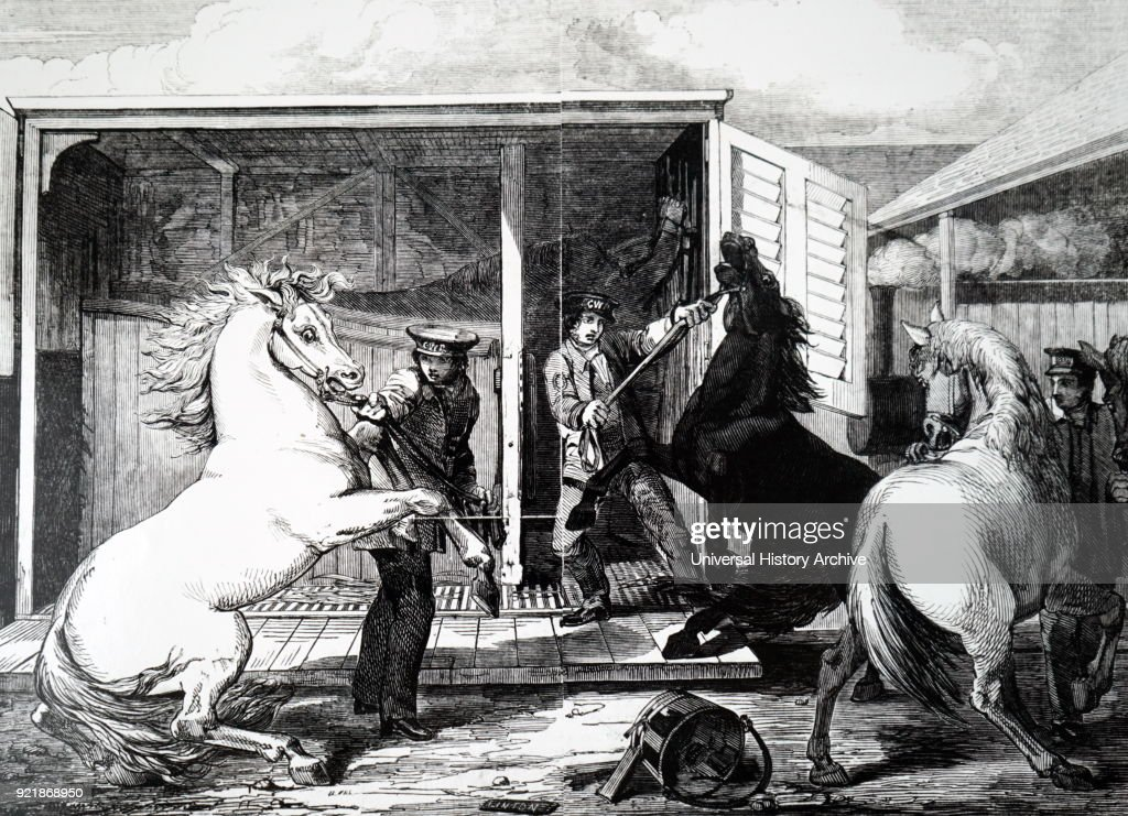 Illustration depicting the changing of horses from the broad gauge to the narrow gauge at Gloucester Station. Dated 19th century.